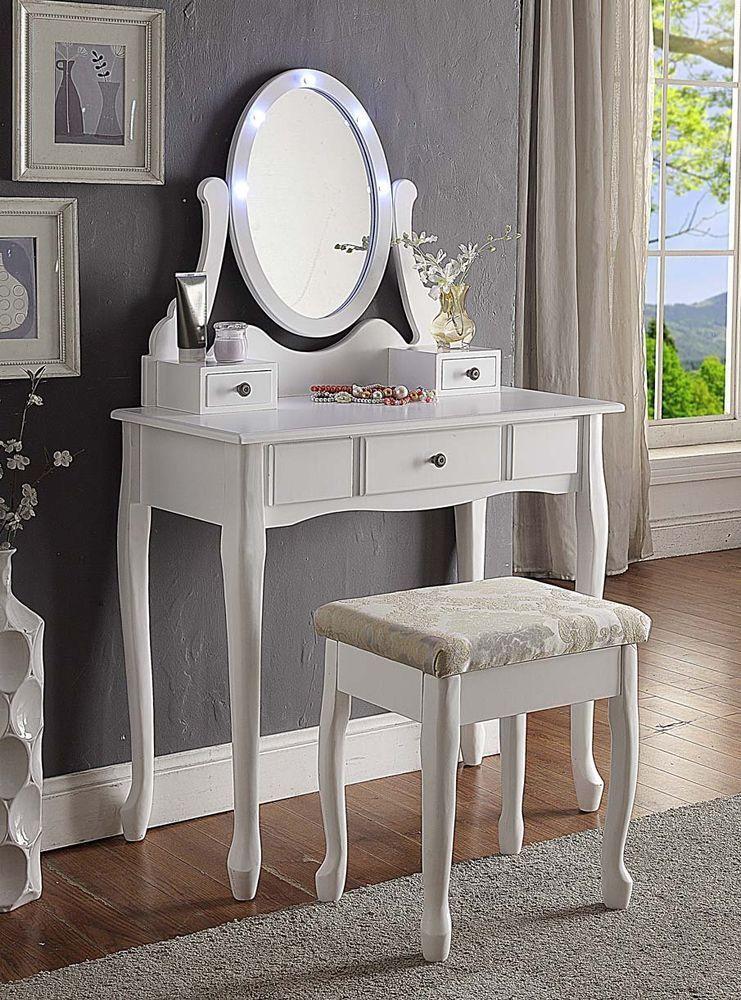 Best Wooden Dressing Table Makeup Led Light Swivel Oval Mirror 400 x 300