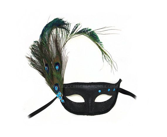Willow Peacock Feather Masquerade Ball Mask - A-2248-R