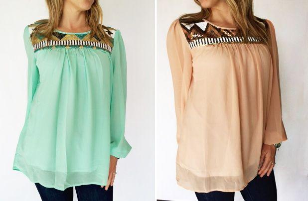 GroopDealz   Aztec Sequin Chiffon Top - 3 Colors! #groopdealz #blouse