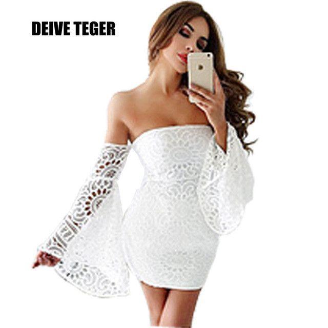 DEIVE TEGER Party Bandage Dress solid white lace flowers mini off shoulder