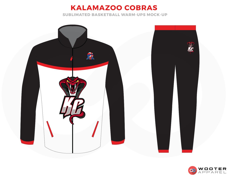 KALAMAZOO COBRAS White Black and Red Basketball Uniforms 7dfeb8806391
