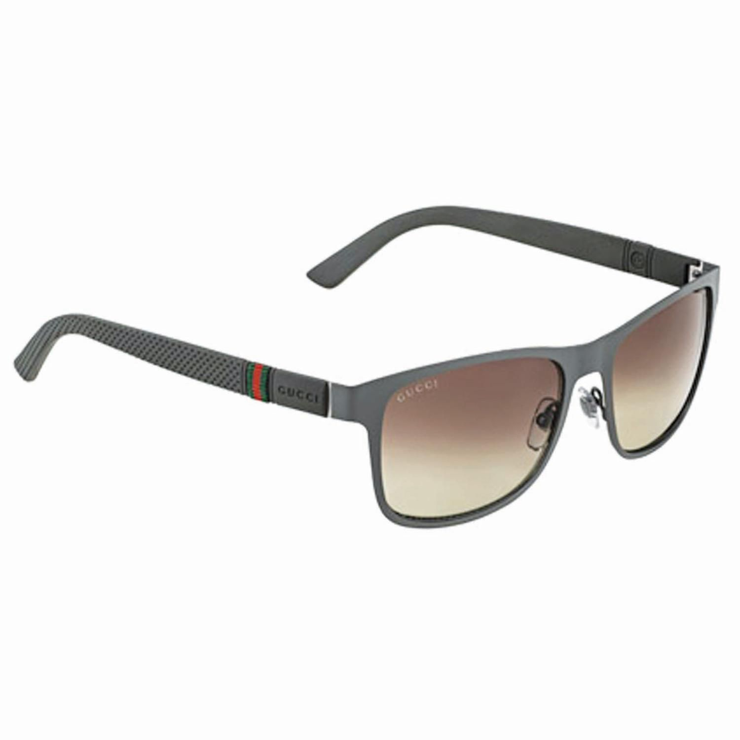 b74fcfa8616 Gucci Sunglasses-GG 2247 S-4VF LA-56 Gucci Sunglasses-Metal Frame-Matte  Grey Brown Frame Color-Grey Shaded Lens Color Gents