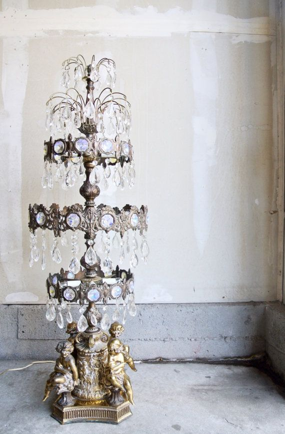 Stunning Vintage Brass Cherub Lamp With Crystals Large