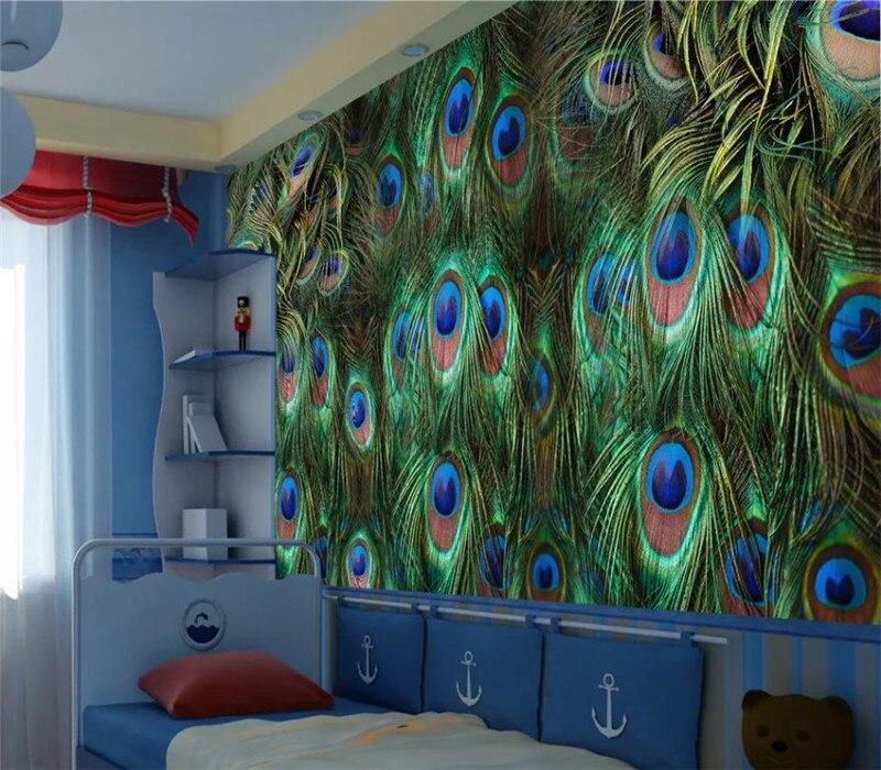 Custom Wallpaper Creative Peacock Feather Tv Living Room Wall Decoration Waterproof Material If Custom Wallpaper Wall Decor Living Room Peacock Feather Decor #peacock #decor #for #living #room