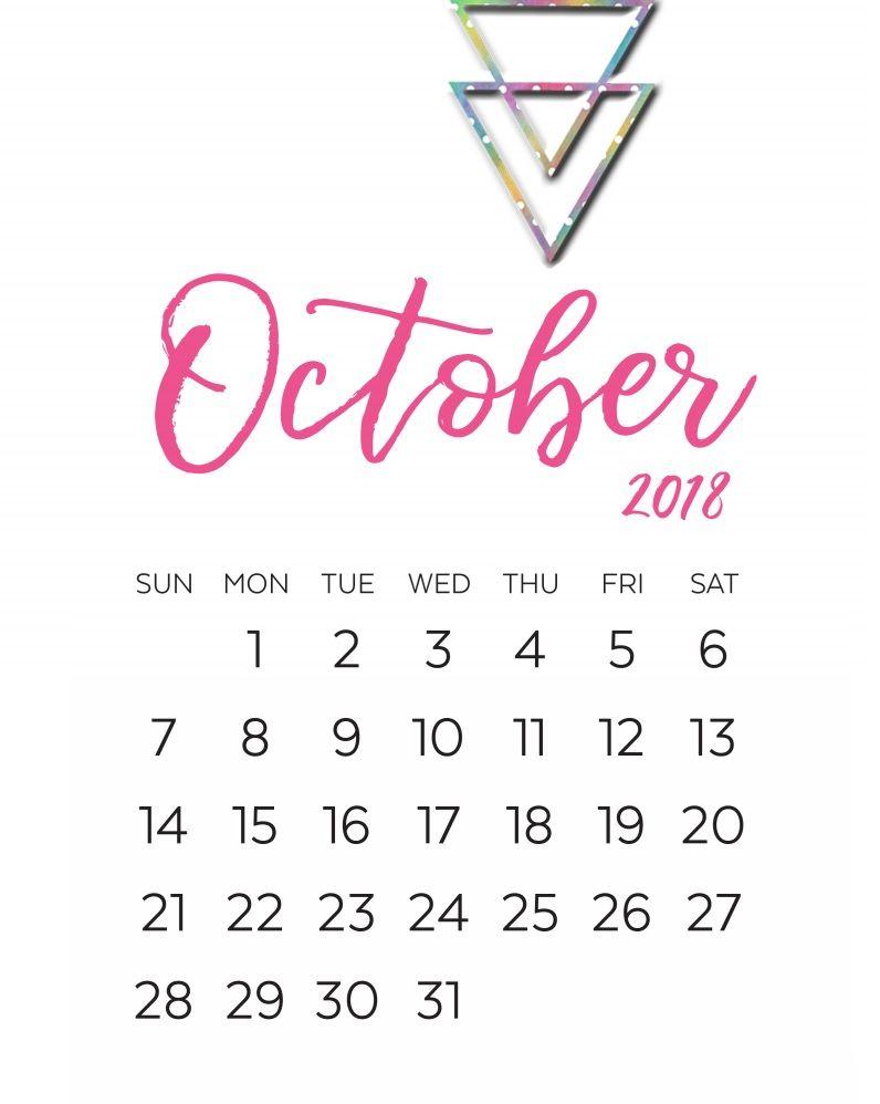2018 Calligraphy Calendar Printable Calendar Printables Monthly