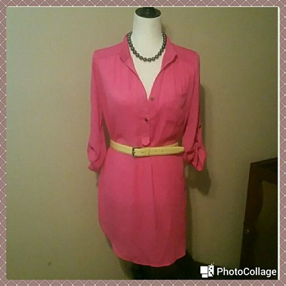 A'gaci  Fuschia Blouse Dress & Top A'gaci  Fuschia Blouse Dress & Top  Great conditions   Super cute   Length from shoulder down  33in   It could be worn as a blouse or  a Dress  Listed in Mecari for a lower price . Use code  QJDWCT or Search for StylinIsMypassion36   100% Polyester     FINAL PRICE a'gaci Dresses Mini