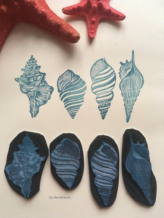 Seashell hand carved rubber stamp / seashells ocean stamp set of 4 #setinstains