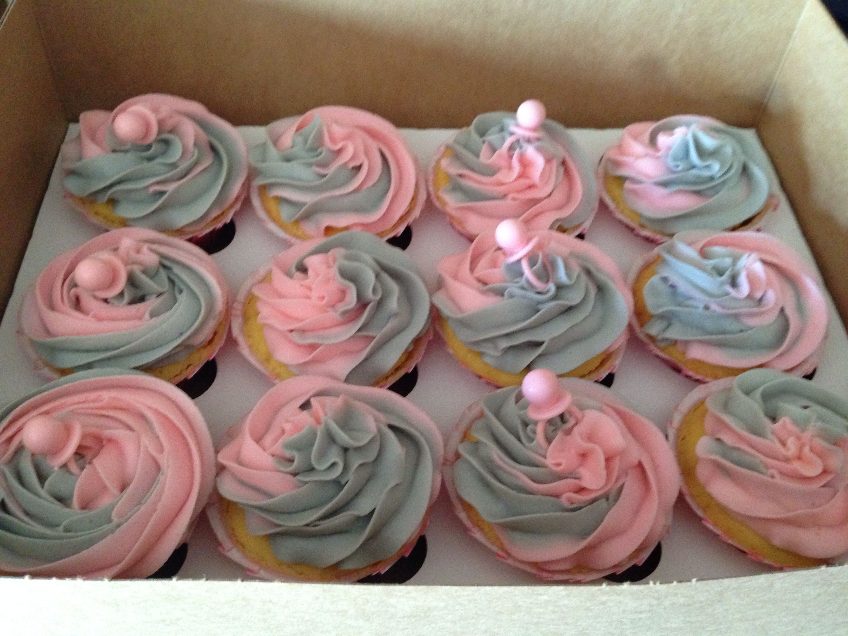 Baby Girl Baby Shower Cupcakes Blended Pink Grey Girl Shower