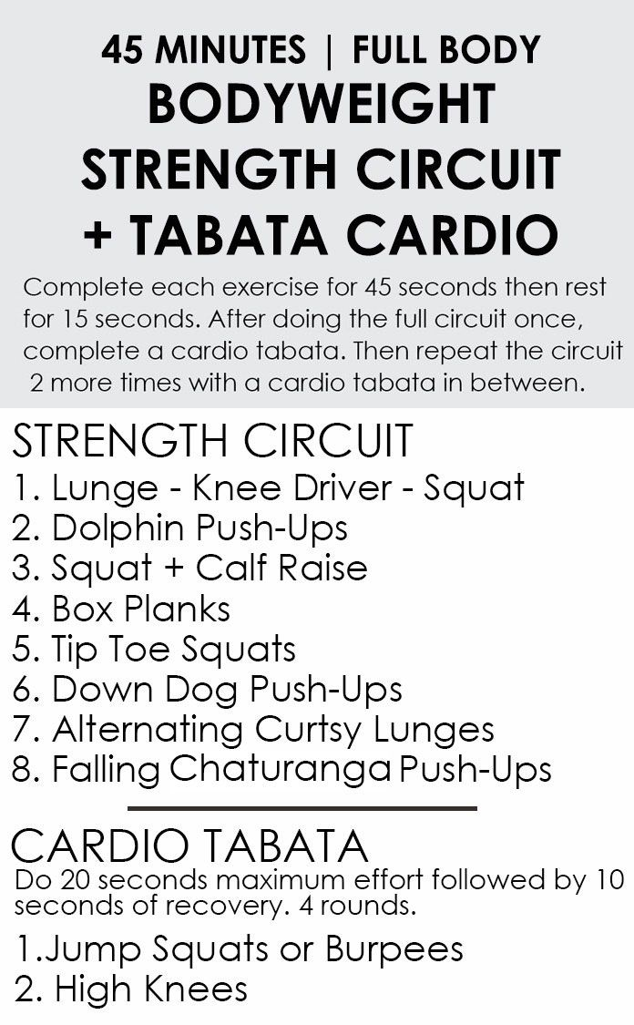 45 Minute Full Body Bodyweight Strength Circuit + Tabata ...