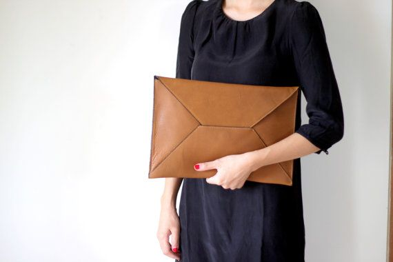 SALE- Envelope Oversize Leather Clutch in Tan