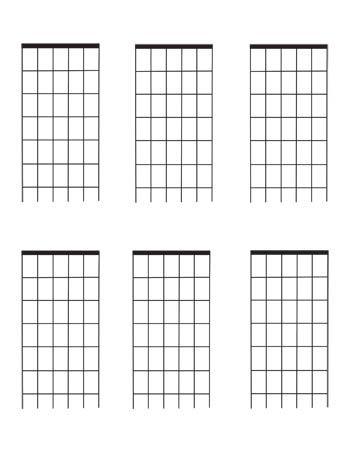 Guitar Fretboard diagrams: Six Fret blank template 6 per