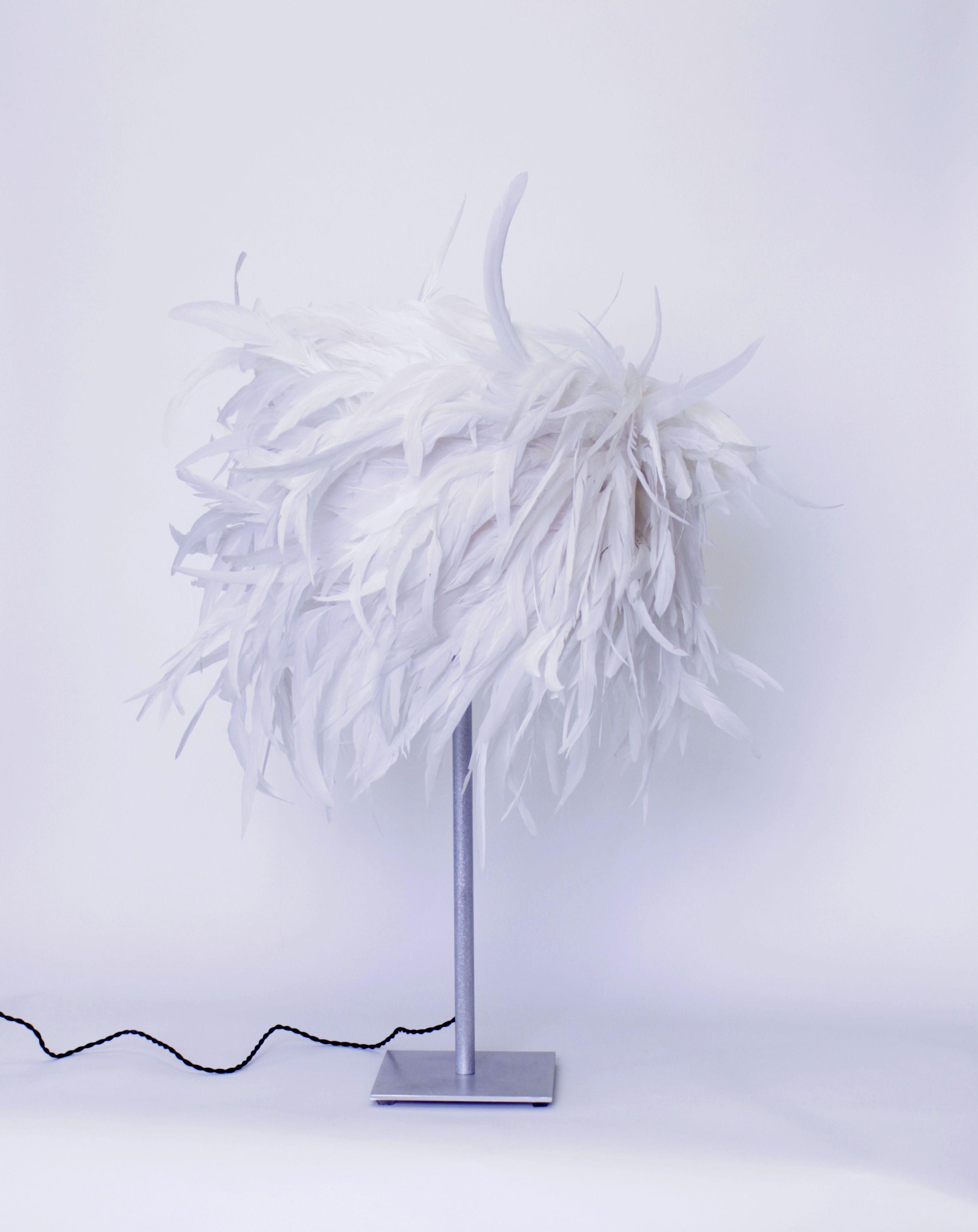 lampe queue de coq blanche pied aluminium brossé