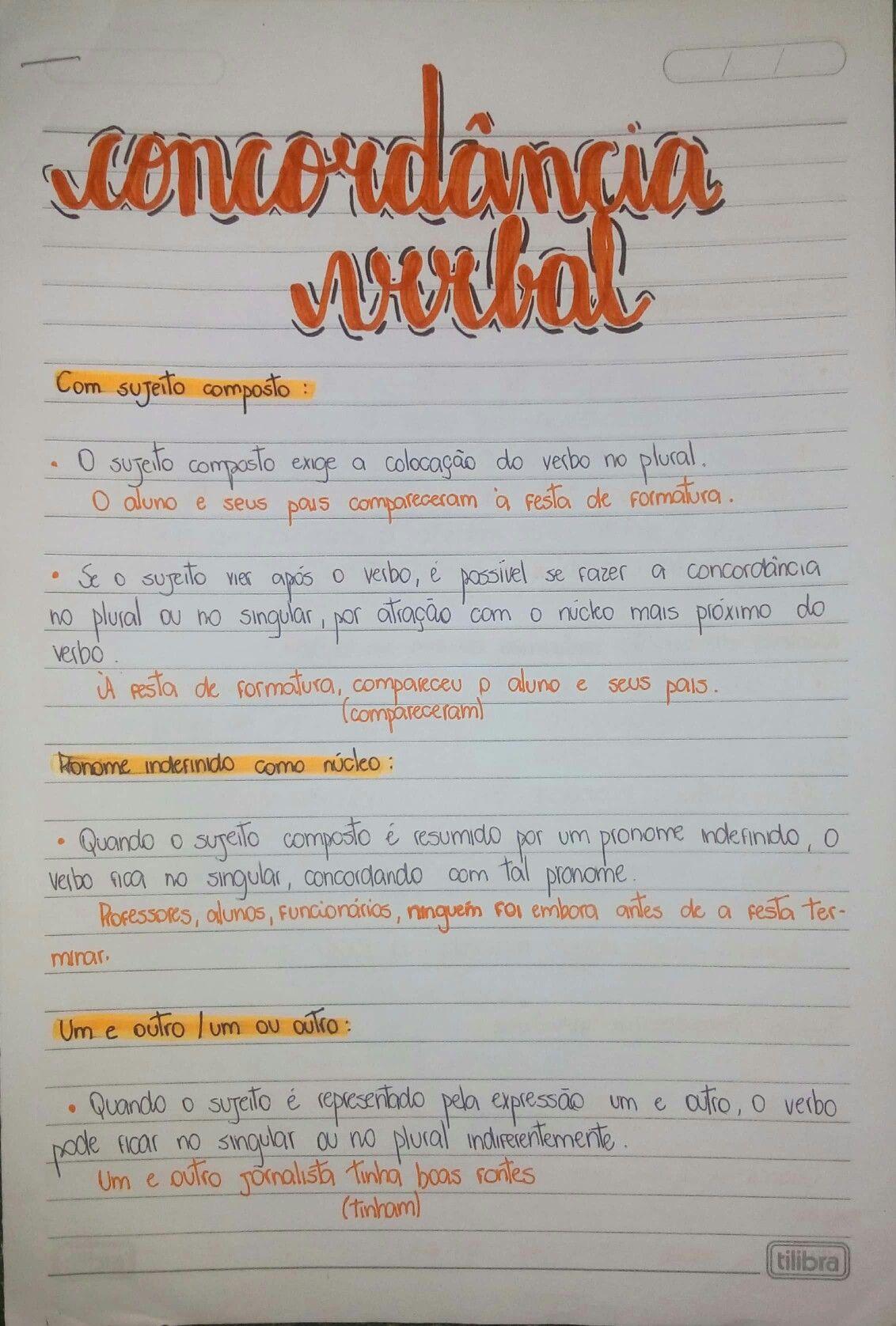 Resumo Sobre Concordancia Verbal 1 4 Concordancia Verbal E