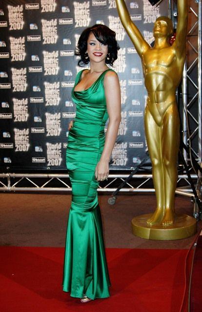 2adc3ebc Rhianna rockin a Dolce & Gabbana Emerald dress- Pantone's Color of the Year  for Spring 2013 #emerald #pantone #dresses