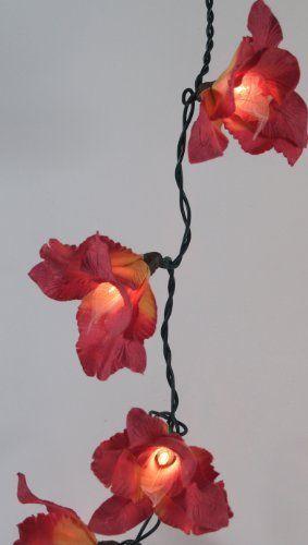 Guru Shop De lotus lichterkette 20 stk rot blüten lichterketten guru