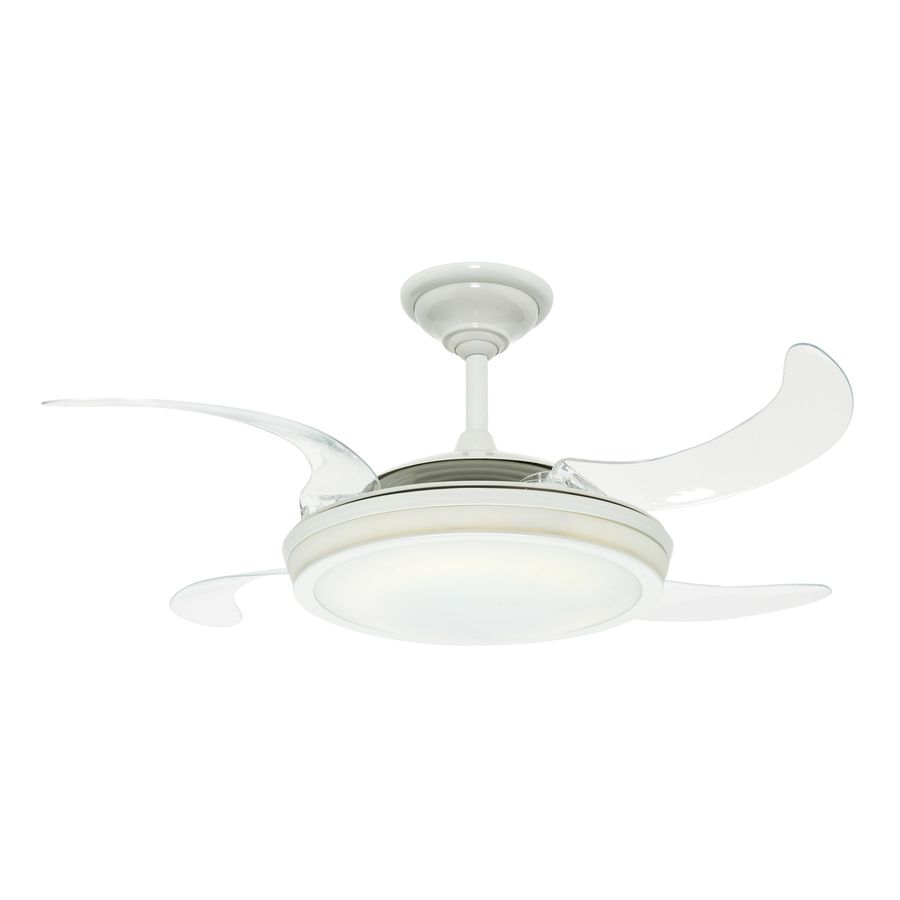 Ceiling Fan With Folding Blades Shop Hunter 48 In Fanaway White Ceiling Fan With Light Kit And