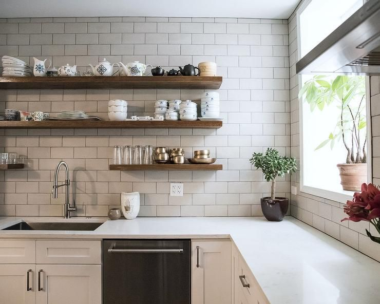 Brown Wooden Shelves On White Subway Tiles Kitchen Backsplash Over White Quartz Countertop Kitchen Shelf Design Floating Shelves Kitchen Wooden Shelves Kitchen