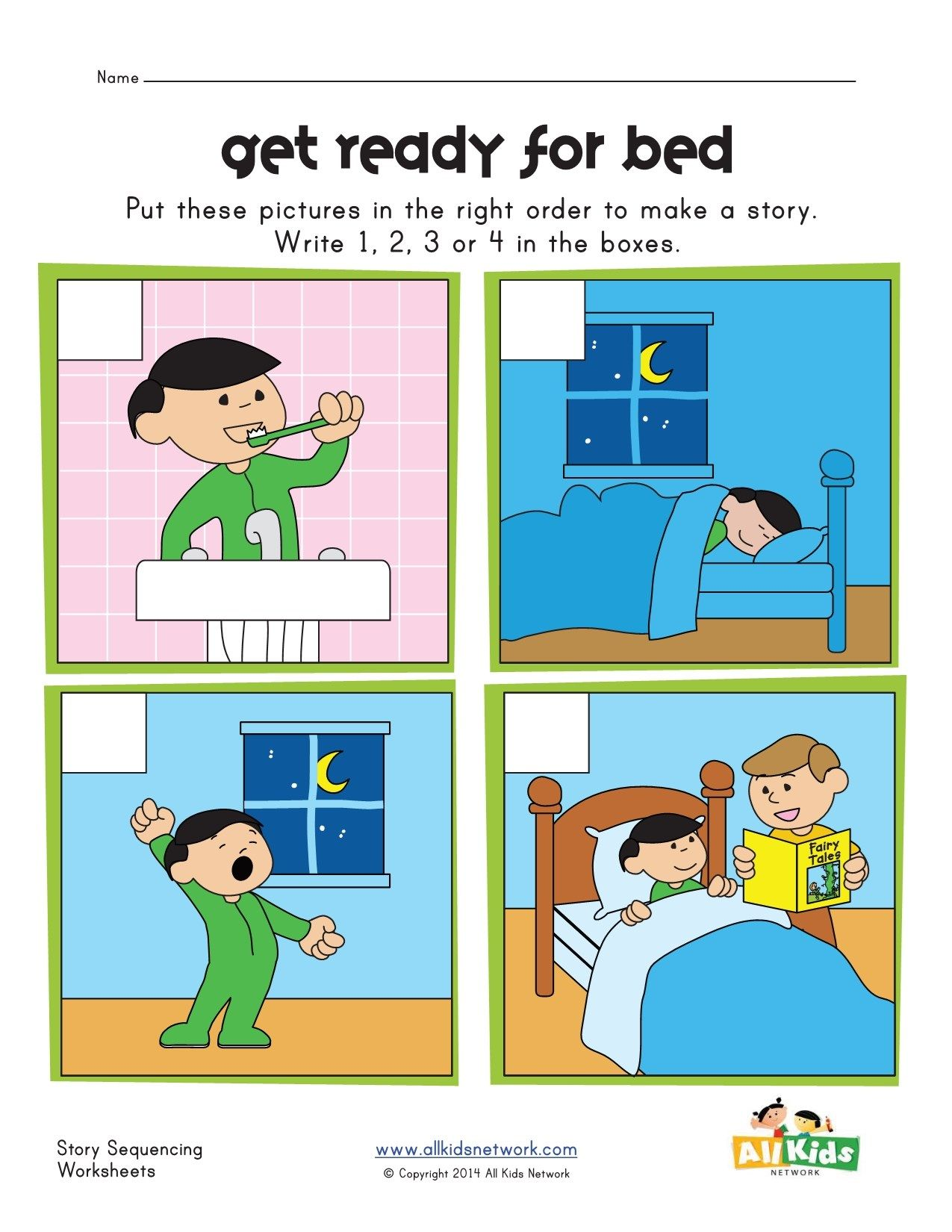 Bed Time Sequencing Worksheet