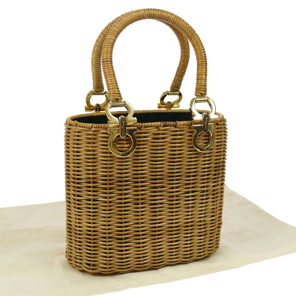 48b3131afd86 Authentic Salvatore Ferragamo Gancini Hand Bag Rattan Basket Beige GOOD  TG00549