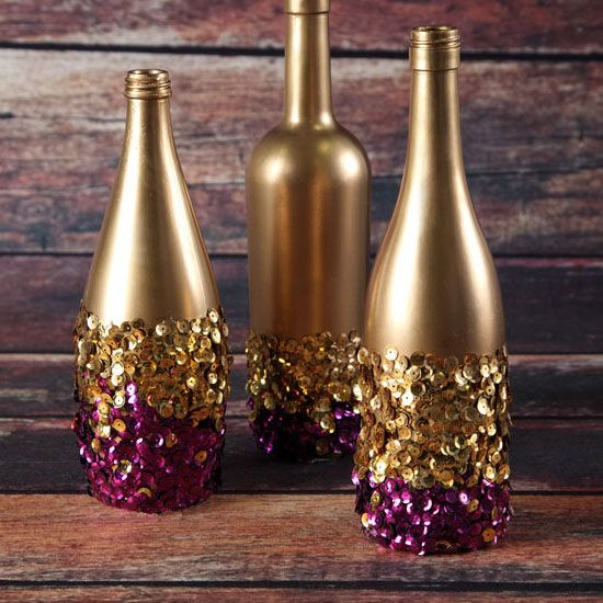 Golden Touch Sequin Bottles | DIY Thanksgiving Decorations on a Budget | DIY Thanksgiving Table Decorations