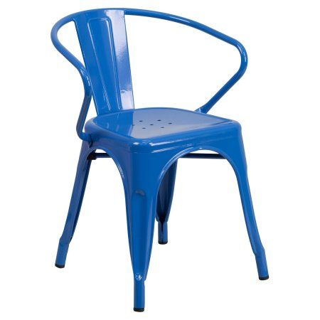 Flash Furniture Metal Indoor-Outdoor Chair with Arms, Multiple Colors, Blue