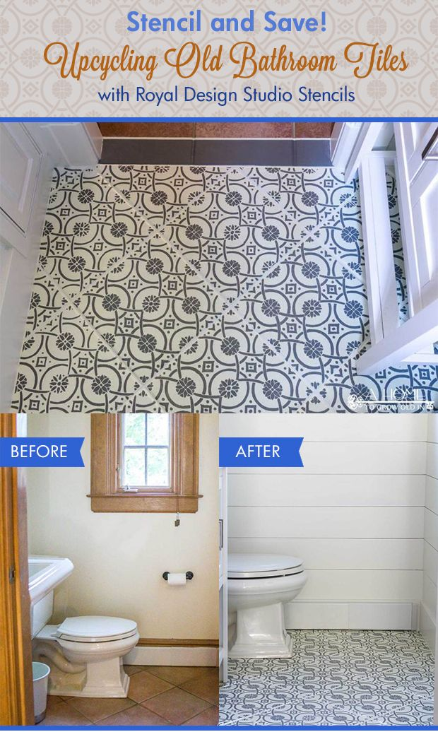 Stencil and Save! Upcycling Old Bathroom Tiles with Stencils DIY ...