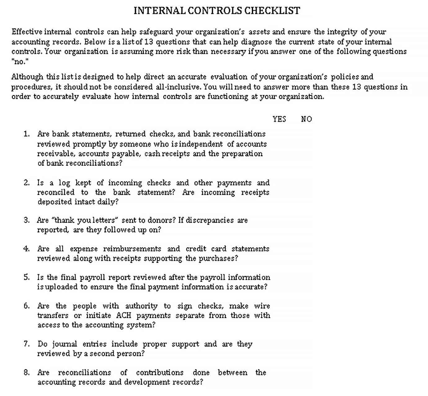 Control Checklist Template Checklist Template Checklist Business Template
