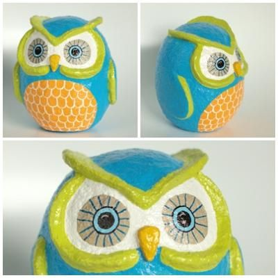 Papier mache owl inspiration papier mache pinterest for Diy paper mache owl
