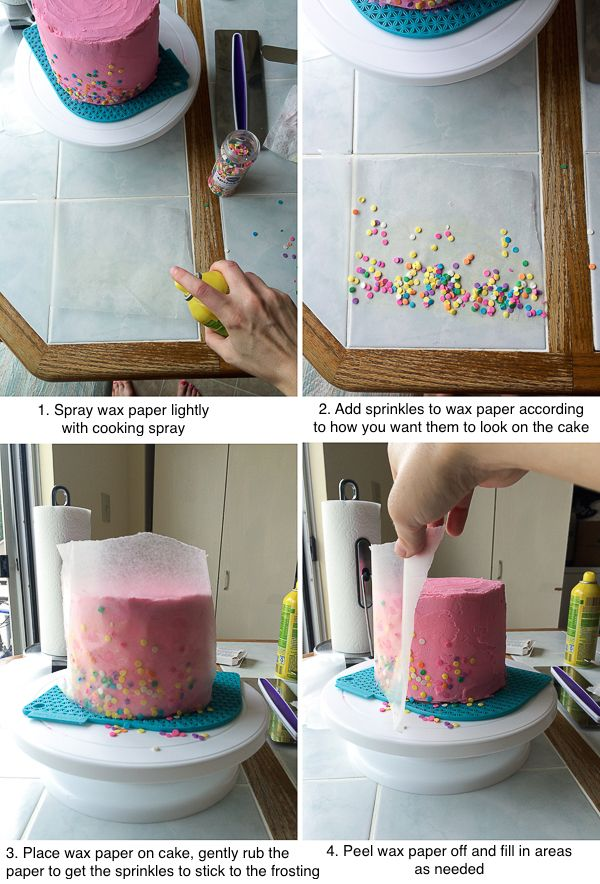 How to put sprinkles on the sides of a cake