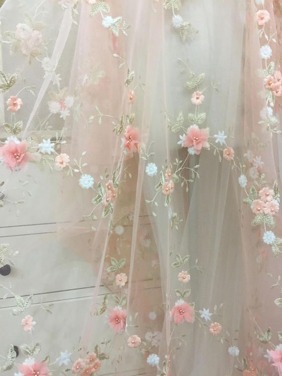 2dcb95537135e 3D Pearl Flower Lace Fabric in Pink by yard for Flower Girl Dress,3D Flower  Applique with Pearl for