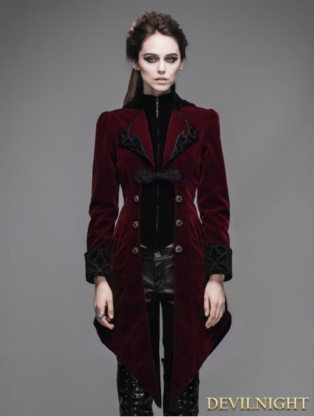 ffbc422264f279 Red Vintage Gothic Swallow Tail Jacket for Women - Devilnight.co.uk ...