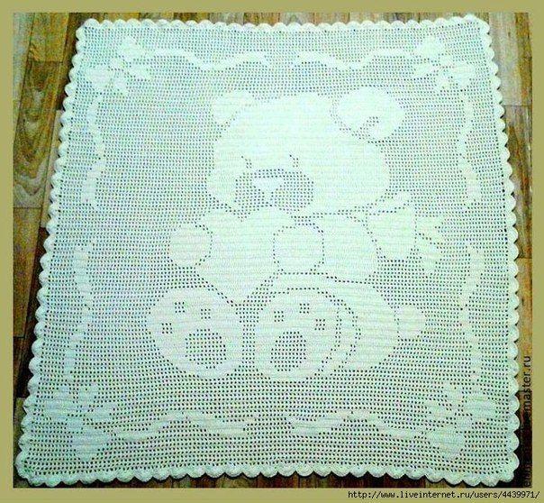 Manta infantil dise o de oso patrones sons and crochet - Patrones de mantas a crochet ...