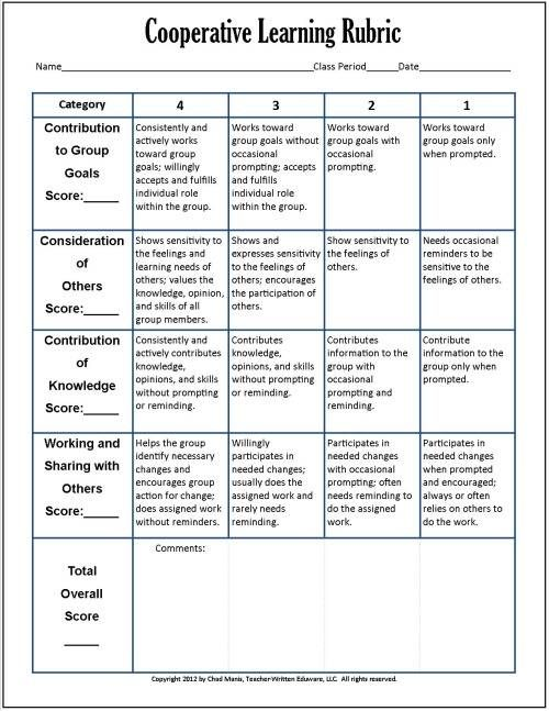 Cooperative Learning This free PDF packet includes documents for - peer evaluation form sample