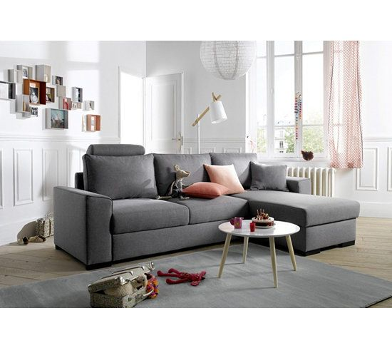 Canape D Angle Convertible Meridienne Reversible June Tissu Sawana Gris Clair Canape Angle Canape Angle Convertible Et But Canape