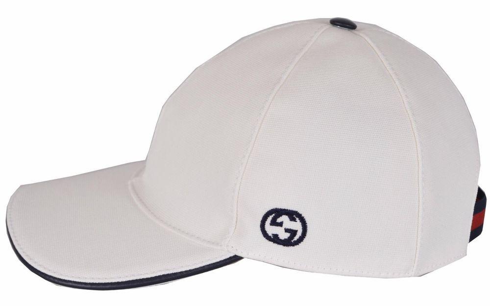 93896dbbbc34d NEW Gucci Men s 387554 White Canvas Interlocking GG Web Baseball Cap Hat M…