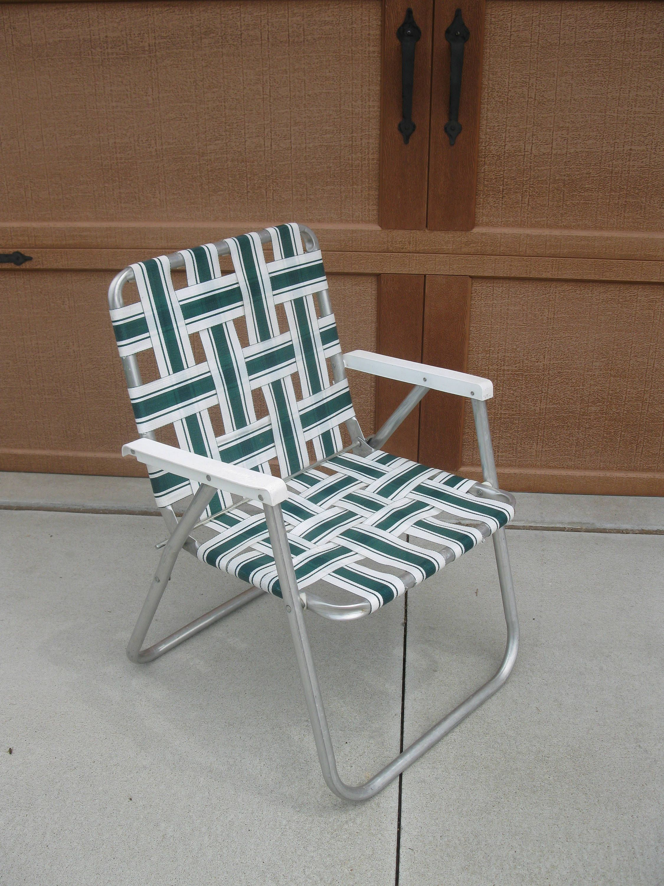 Vintage Lawn Chair  ADULT Size  SUNBEAM Green White  Nylon Web Lawn Chair   Patio Deck Furniture  Retro Cabin  Vintage Camper By Oakiesclaptrap On Etsy