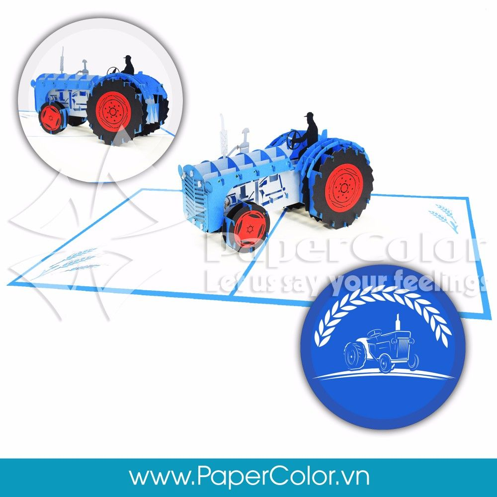 Vintage Tractor Wholesale Price 3d Pop Up Greeting Card Vietnam