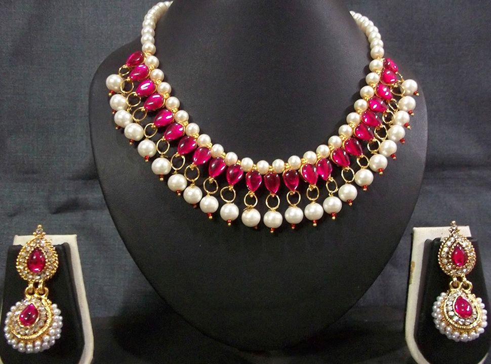 e5fc522c0c1 Buy Dark Pink Kundan Pearl Necklace Set online