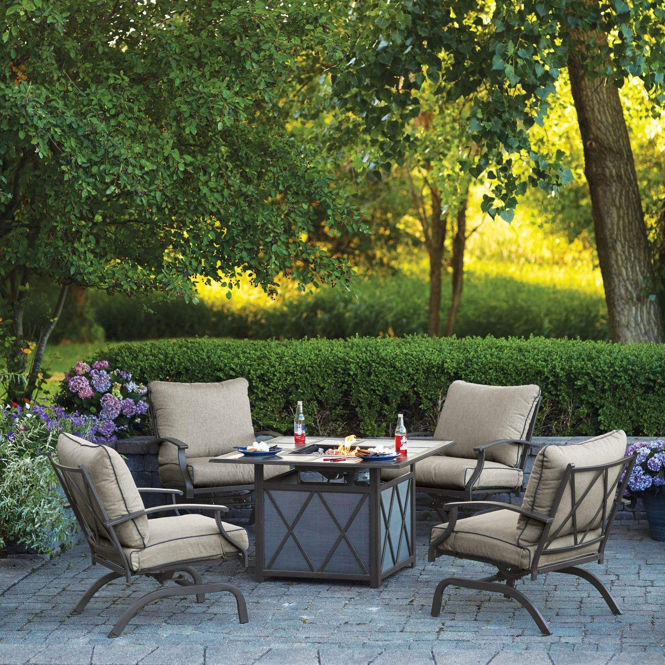 Living Accents Odyssey Firepit Set 5 pc. Brown(SUS59XF-X02 ... on Ace Outdoor Living id=90208