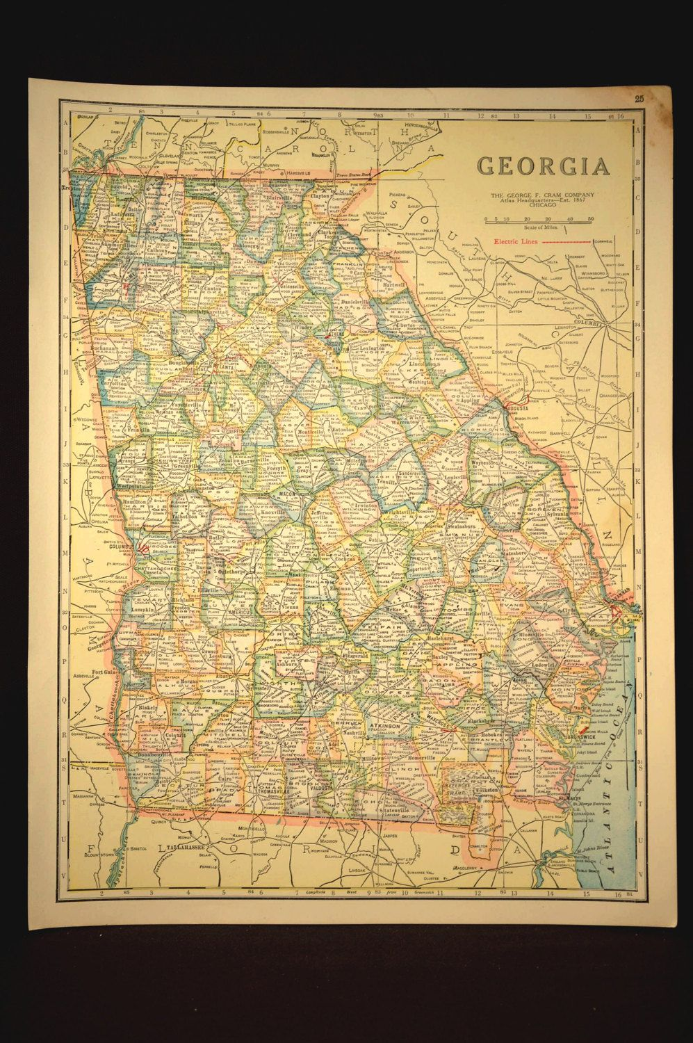 TWO SIDED Antique Road Map Georgia Map Original Highway Roadway - Antique road maps