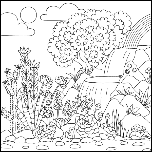 A Desertlandscape Is Featured In Today S Free Pigmentdailydownload Time To Take A Break And Get Coloring Pages Flower Coloring Pages Unicorn Coloring Pages