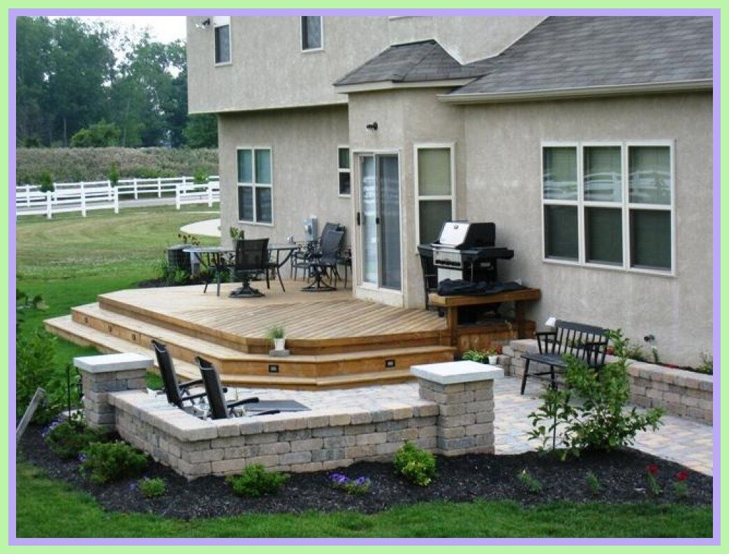 97 Reference Of Deck And Patio Combo Wooden Deck In 2020 Small Patio Design Backyard Patio Patio Design