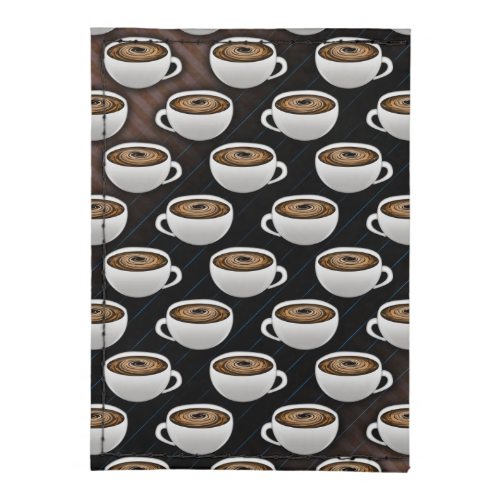 White ceramic coffee cups with swirling coffee and cream in a repeating pattern on coffee colored stripes.