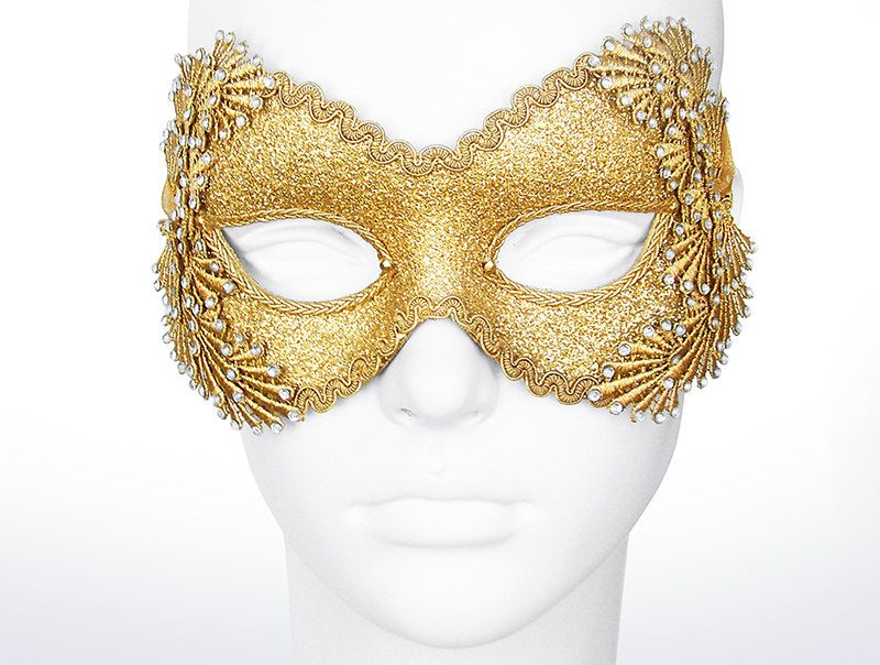 Metallic Glitter Gold Masquerade Mask With Rhinestones by SOFFITTA