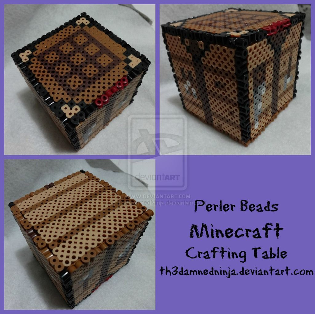 Minecraft Crafting Table By Th3damnedninja On Deviantart Minecraft Beads Minecraft Perler Diy Perler Beads