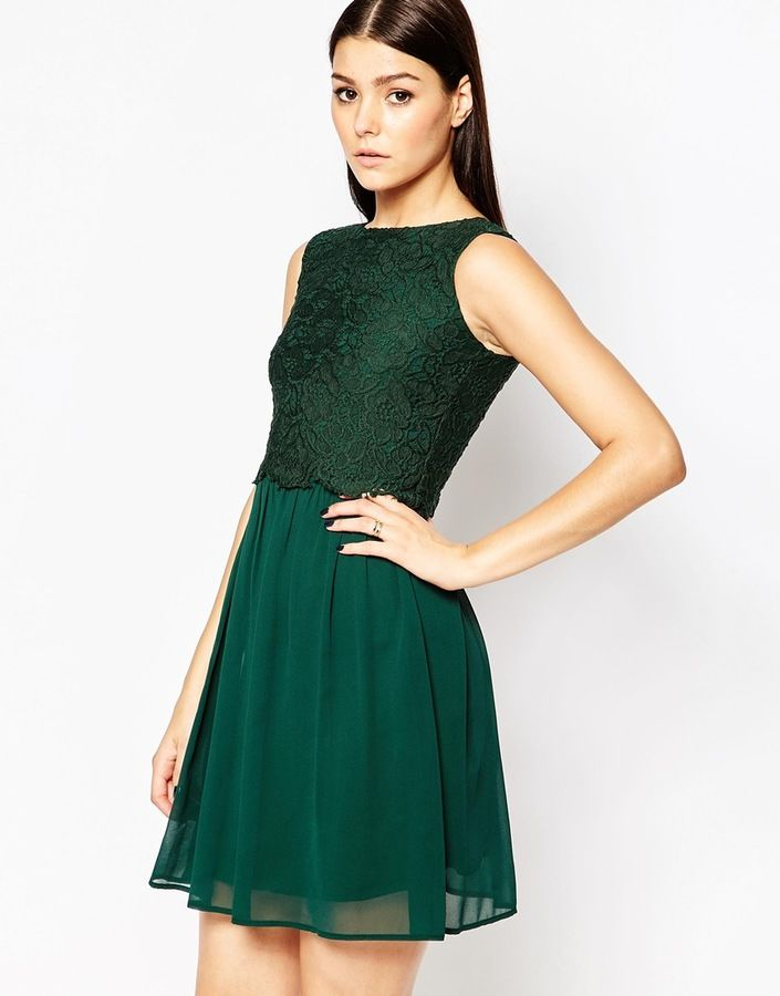 Forest green lace overlay dress from ASOS