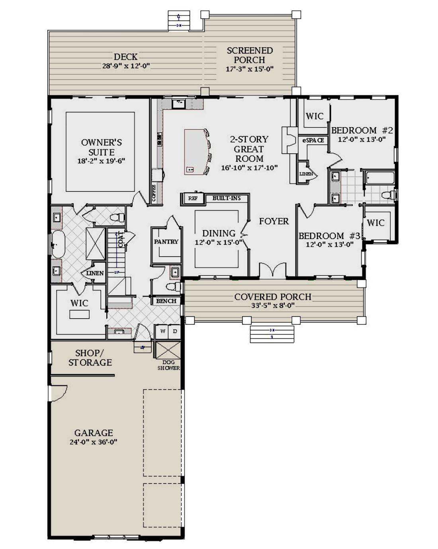 House Plan 6849 00086 Modern Farmhouse Plan 3 239 Square Feet 4 Bedrooms 4 5 Bathrooms In 2020 Modern Farmhouse Plans Floor Plans Farmhouse Plans