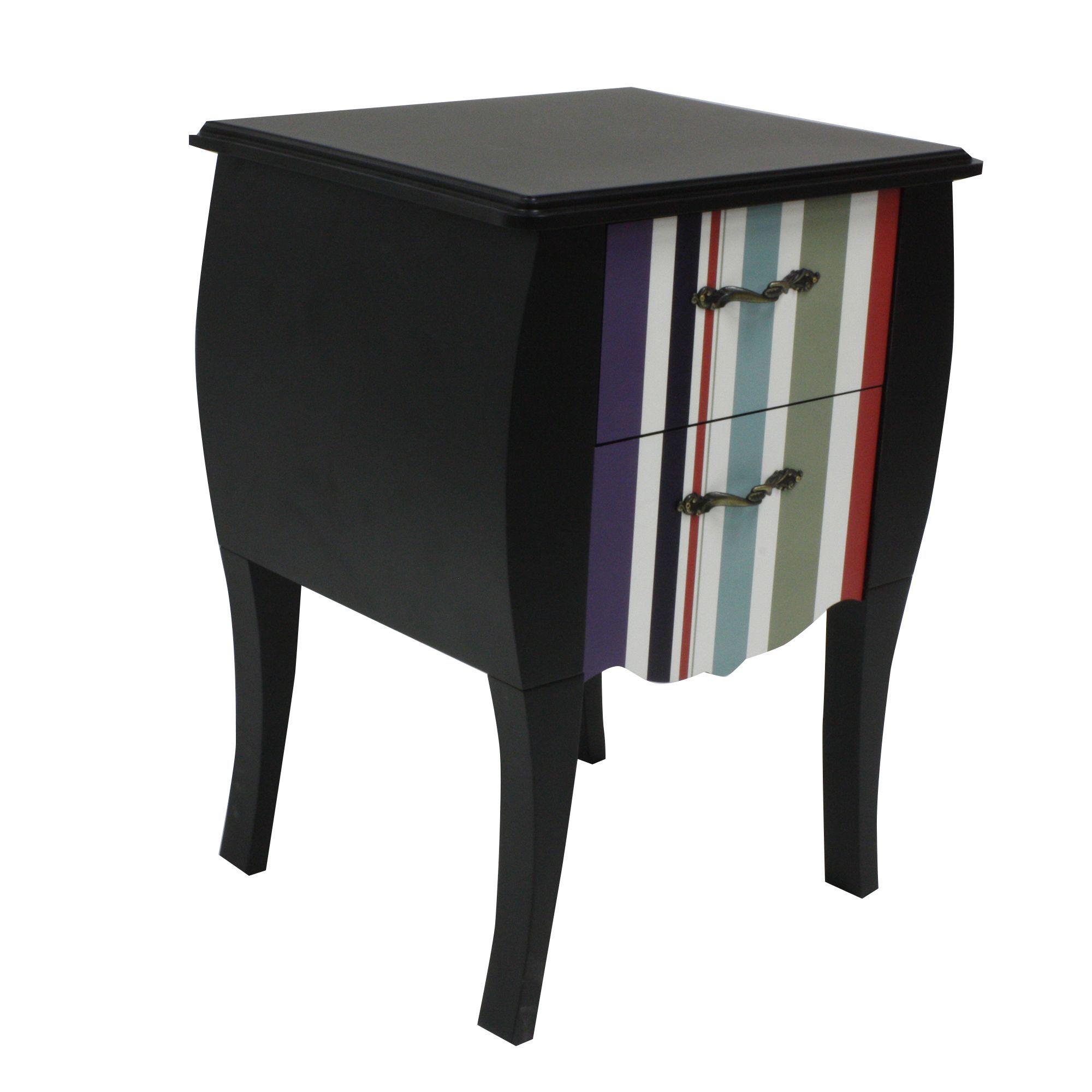 table de chevet 2 tiroirs imprim rayures bayadres noir print baroque caroussel - Table De Nuit Alinea