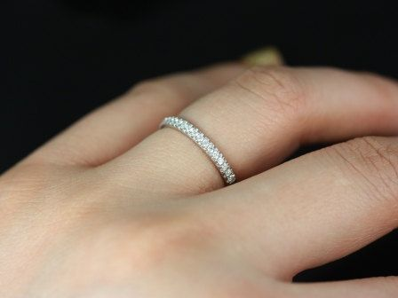 Kierra Silver Thin French Pave Diamond Halfway Eternity Band 375