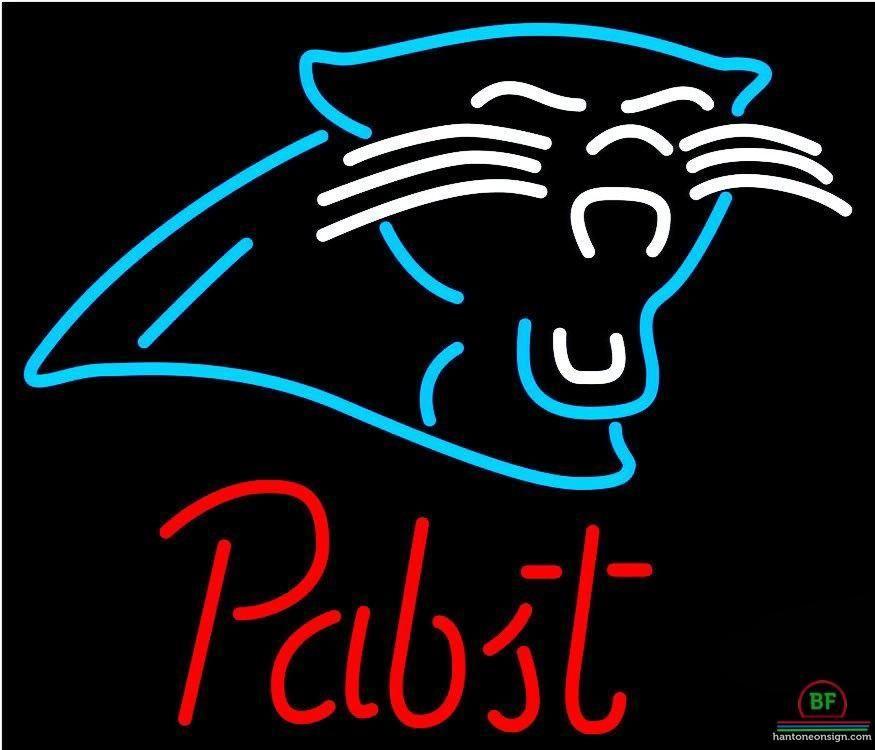Pabst Blue Ribbon Carolina Panthers Neon Sign NFL Teams